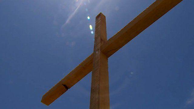 makeshift wooden cross for grave