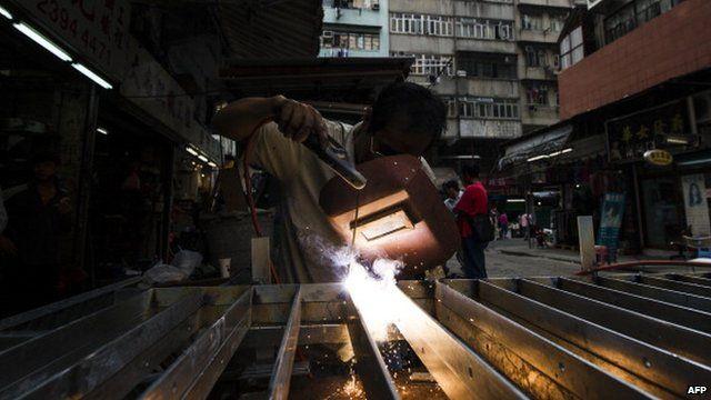 A welder at work in Hong Kong
