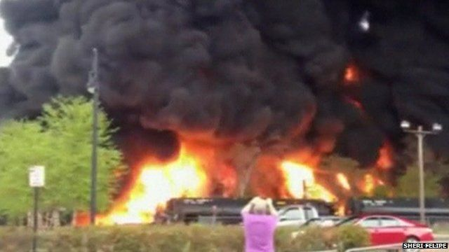 Still from amateur footage shows train on fire in Lynchburg, Virginia