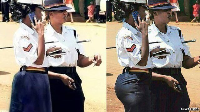 Policewoman in tight skirt