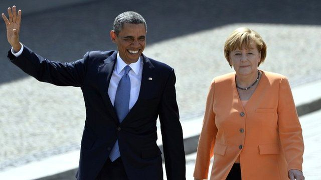 Barack Obama and Angela Merkel (file photo, 19 June 2013)