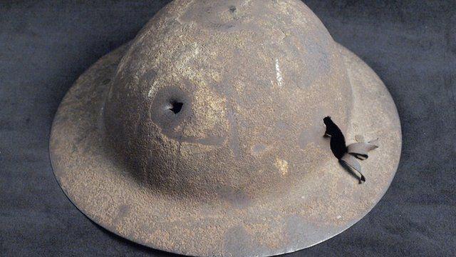 World War One pierced helmet
