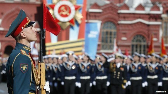 Troops marching in Moscow's Red Square