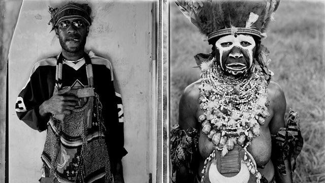 A composite of images of a gang member and a woman in tribal costume in Papua New Guinea