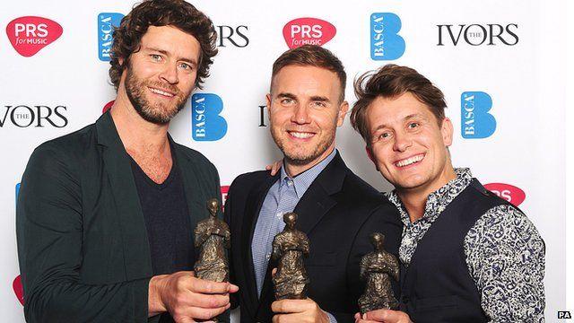 Take That stars Howard Donald, Gar Barlow and Mark Owen