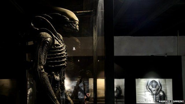 "A costume made for the film ""Alien"" is displayed at the HR Giger Museum on May 13, 1024 in Gruyeres"