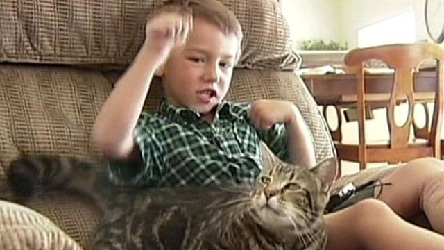 Jeremy Triantafilo with Tara the cat