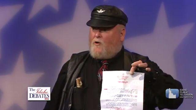 Harley Brown speaks during a Republican debate in Idaho