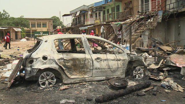Scene of a bomb attack in Jos