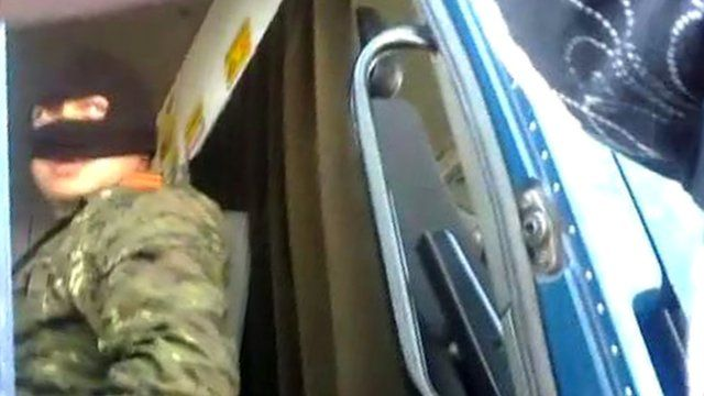 Surprised separatist in van