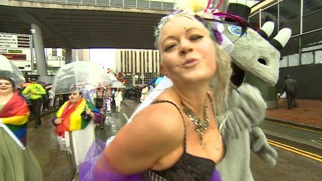 The annual lesbian, gay, bisexual and transgender festival began with a carnival procession from Victoria Square to Hurst Street.