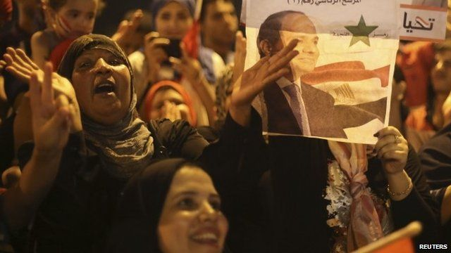 Sisi supporters celebrate in Tahrir Square