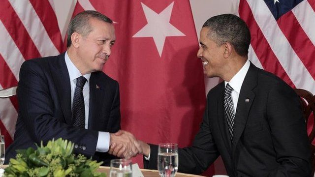 President Barack Obama, right, shakes hands during his bilateral meeting with Prime Minister of Turkey Recep Tayyip Erdogan