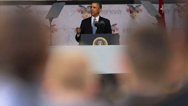 U.S. President Barack Obama gives the commencement address at the graduation ceremony at the U.S. Military Academy at West Point on May 28, 2014 in West Point, New York