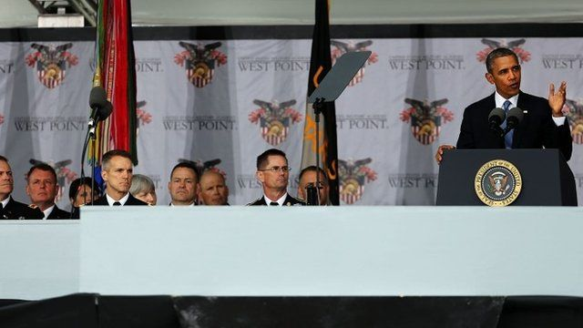 U.S. President Barack Obama gives the commencement address at the graduation ceremony at the U.S. Military Academy at West Point on May 28, 2014