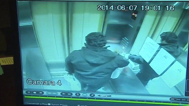Security camera showing Vergara in lift