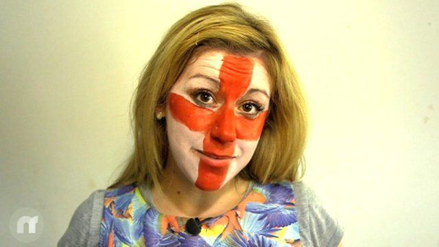 Jenny Lawrence with a flag painted on her face