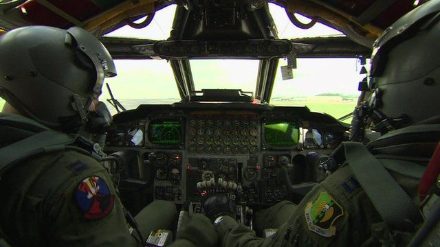 Cockpit view from inside B52
