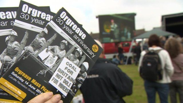 Orgreave flyer with people facing a music stage in the background