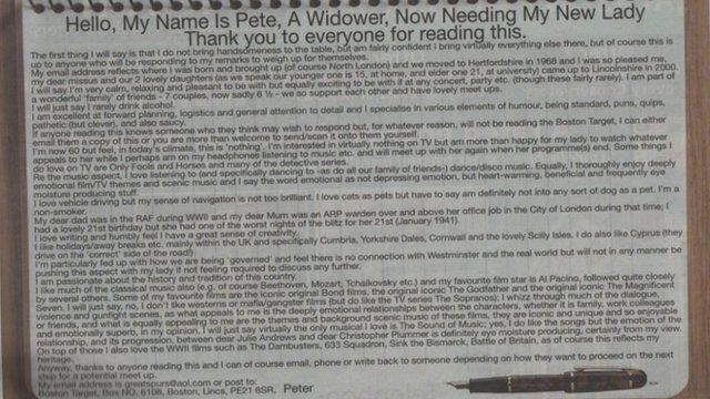 Widower's ad in the paper