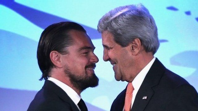 Leonardo DiCaprio and US Secretary of State John Kerry