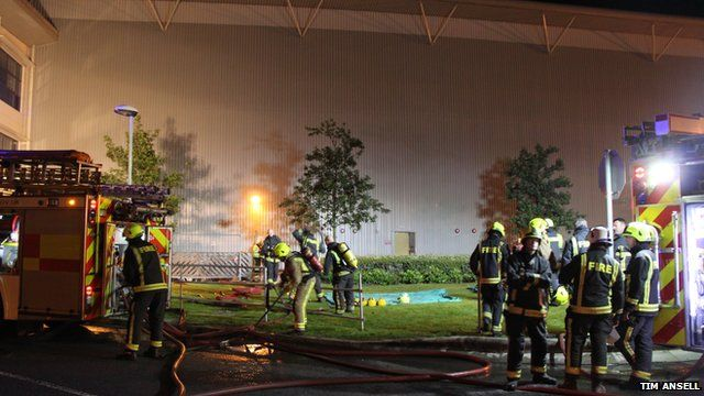 Firefighters at ASOS distribution centre