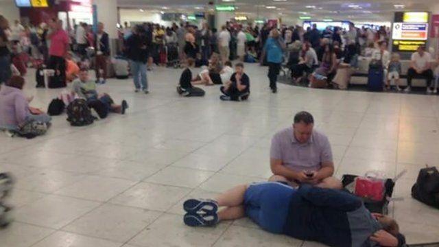 People waiting at Gatwick