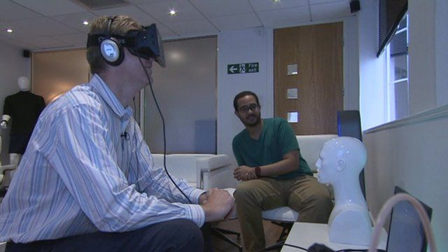 Dave Harvey tests a virtual reality simulator