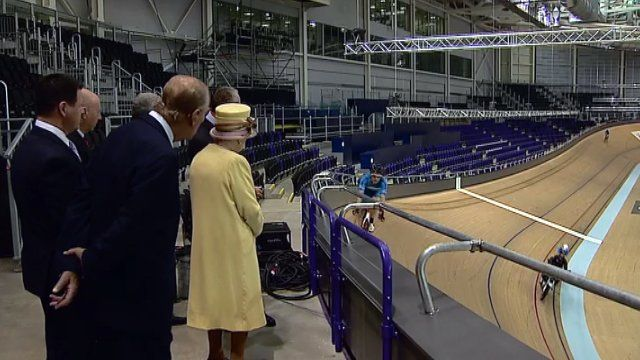 The Queen and Prince Philip at the velodrome
