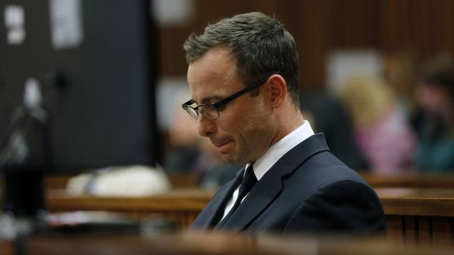 Oscar Pistorius sits in the courtroom during day 37 of his trial in Pretoria, South Africa, Thursday, July 3, 2014