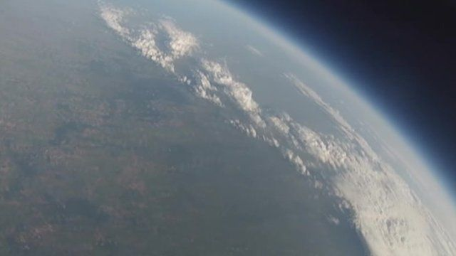 Photo of Earth taken with a smart phone fitted to a balloon