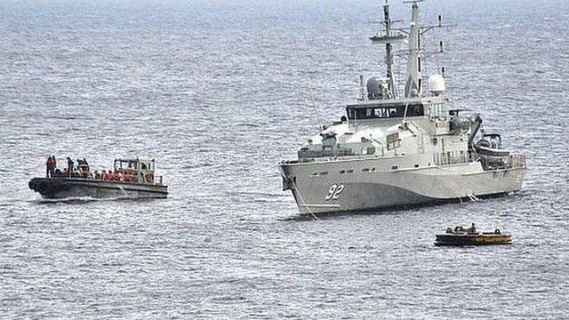 Australian navy ship intercepts boat. 22 June 2012