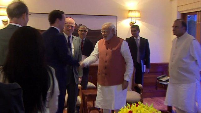 George Osborne and William Hague meet Narendra Modi