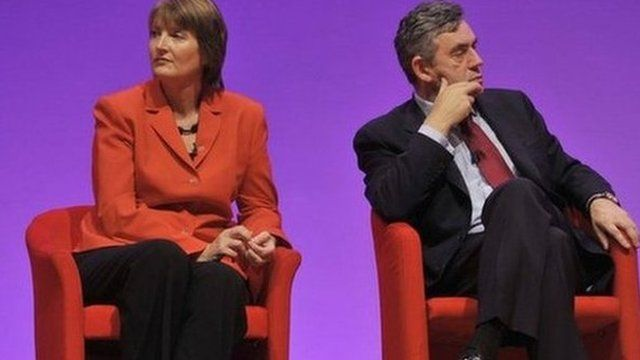 Harriet Harman and Gordon Brown at the 2008 Labour Party conference