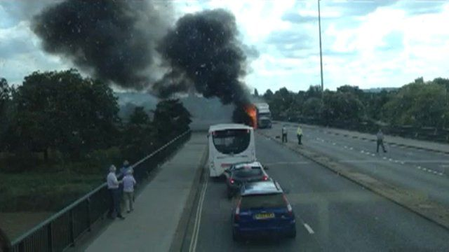 A lorry fire closes one of Bristol's busiest roads