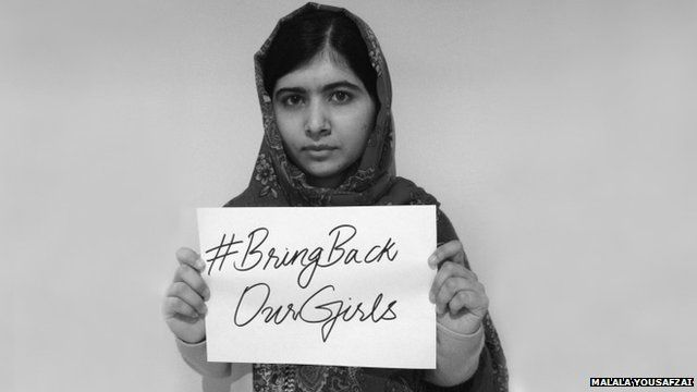 Undated handout picture made available 08 May 2014 of Pakistani activist Malala Yousafzai supporting a social media campaign over the abduction of 276 schoolgirls in Nigeria last month, flooding social media with posts using the hashtag: #BringBackOurGirls