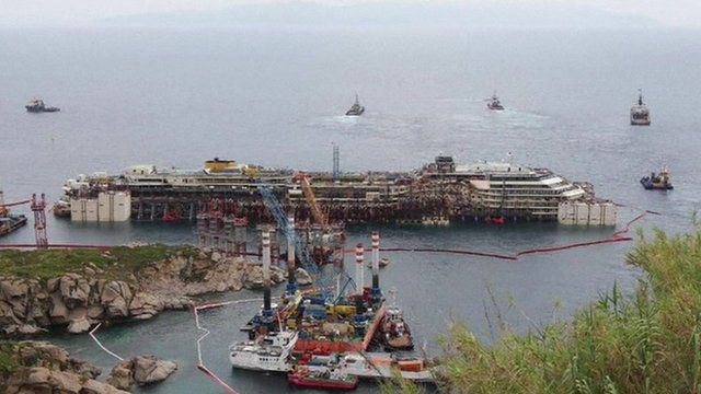 Costa Concordia surrounded by ships