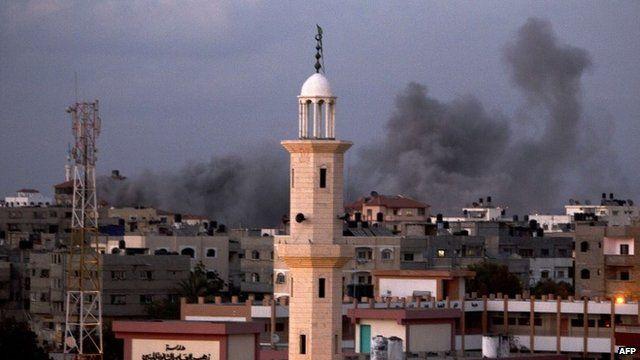 Smoke rising following an Israeli air strike on Gaza City, July 15, 2014