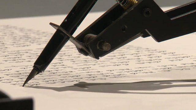 A robot writing the Torah