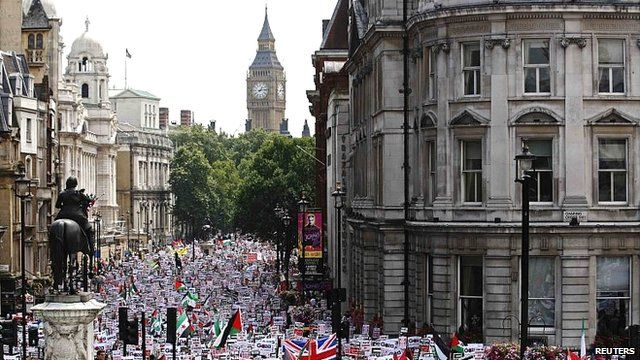 Demonstrators march in London to protest at Israel's actions in Gaza