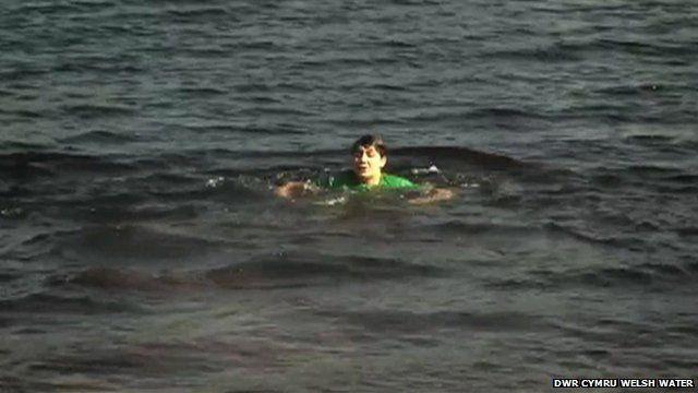 A boy in the water