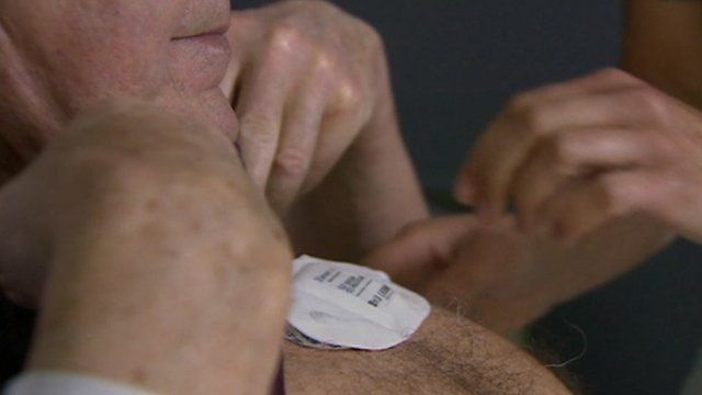 Monitor placed on man's chest