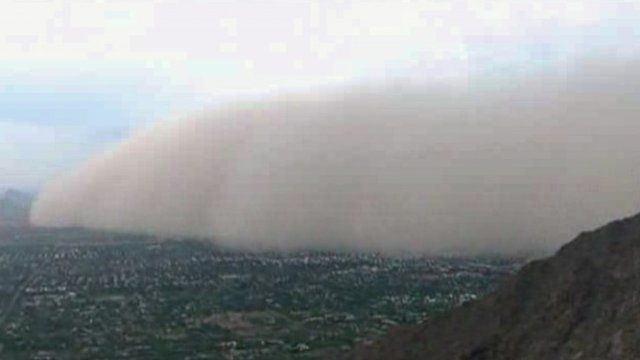 This image made from video provided by ABC15.com shows a massive dust storm over Phoenix Arizona Friday July 25, 2014