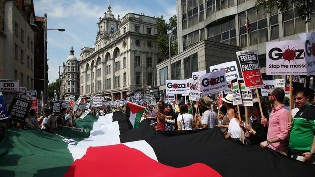 Protesters in London with a Palestinian flag