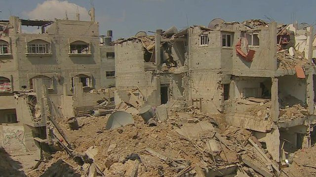 Destroyed homes in Gaza