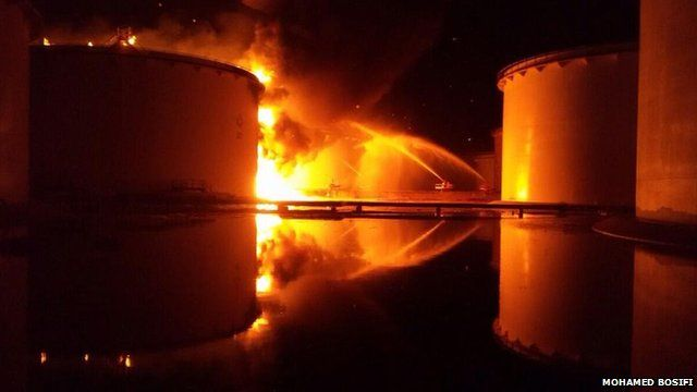 Oil tanker on fire