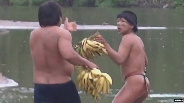 The indigenous men were given bananas