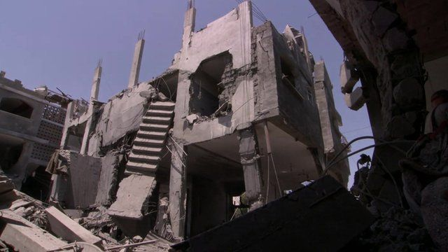 Ruined buildings in Gaza
