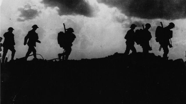 Men walk against skyline Ypres WW1