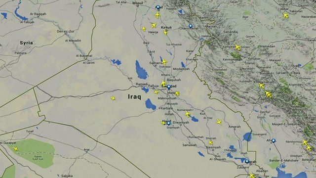 Map of flights over and around Iraq